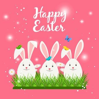 Scheda di pasqua felice con conigli bianchi carino o uova di coniglio a forma di e fiori primaverili. illustrazione vettoriale