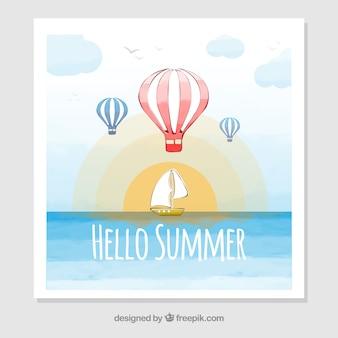 Scheda estiva con barche a vela e palloncini ad aria calda