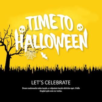 Scheda felice dell'invito di halloween con il vettore di disegno creativo