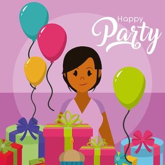 Scheda felice della festa con la giovane donna con regali e palloncini