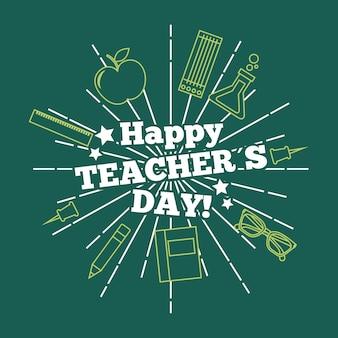 Scheda felice di giorno dell'insegnante che accoglie priorità bassa verde