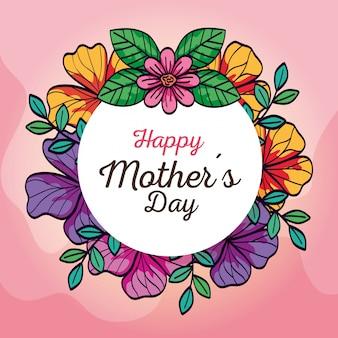 Scheda felice di giorno di madre e cornice circolare con decorazione di fiori