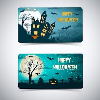 Scheda felice di halloween con pipistrelli volanti del cimitero della casa infestata dalla luna enorme sul cielo notturno isolato