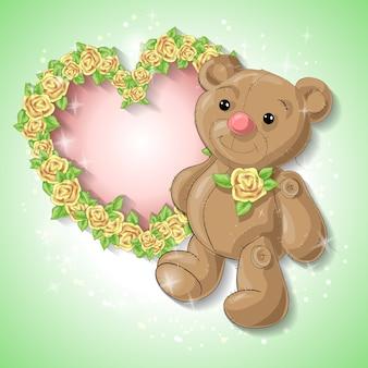 Scheda festiva per un matrimonio o una ghirlanda di rose di compleanno.