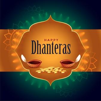 Scheda festival di dhanteras indiano con diya e monete d'oro