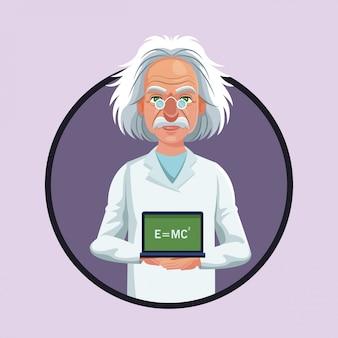 Scheda fisica dello scienziato del carattere con l'icona di formula viola