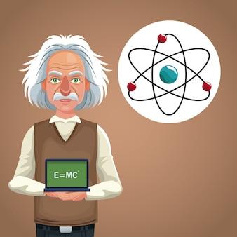 Scheda fisica dello scienziato del carattere con la formula e l'atomo