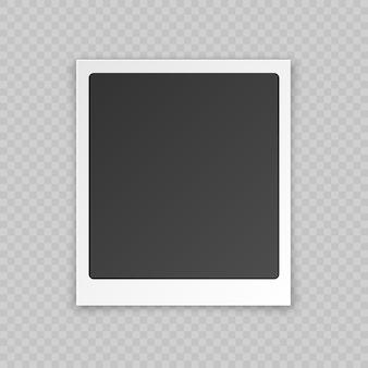 Scheda fotografica vuota in bianco con effetto ombra, bordo in plastica bianco isolato su sfondo trasparente.