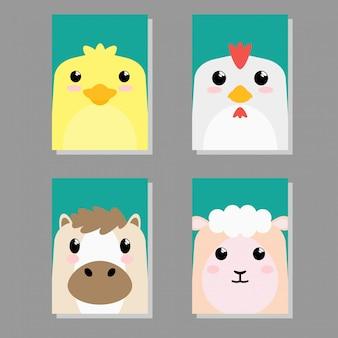 Scheda imposta di icona animale del bambino sveglio del fumetto