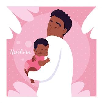 Scheda neonato con papà afro e carino piccolo figlio