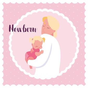 Scheda neonato con papà e piccola bambina carina