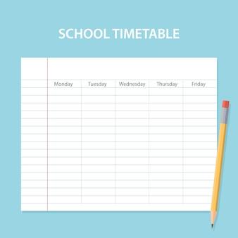 Scheda orario scuola con foglio graffiato