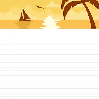 Scheda orario scuola con tema tramonto sulla spiaggia