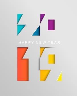 Scheda per il 2019 felice anno nuovo in stile cartaceo