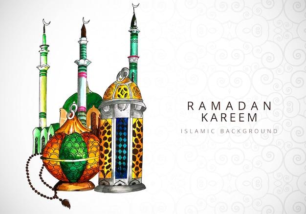 Scheda per il ramadan kareem religione sfondo