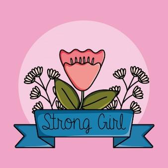 Scheda power girl con decorazione floreale rosa