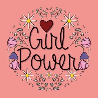 Scheda power girl con decorazioni floreali