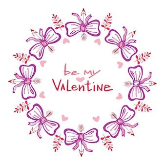 Scheda scritta a mano di san valentino con cornice carina. lettere disegnate a mano vettoriale