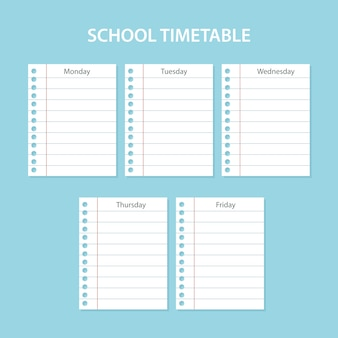 Scheda scuola scuola creativa con fogli graffiati dei giorni della settimana