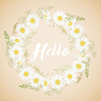 Scheda sveglia con ghirlanda di fiori di camomilla.