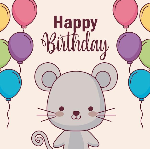 Scheda sveglia di buon compleanno del mouse