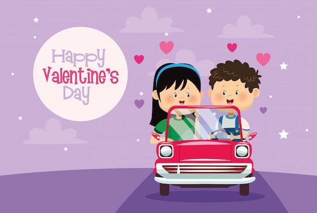 Scheda sveglia di giorno dei biglietti di s. valentino delle coppie dei bambini nel carrello