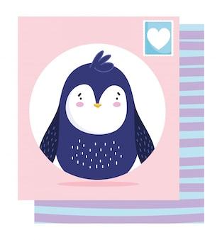 Scheda timbro postale pinguino