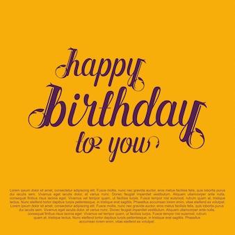 Scheda tipografica di buon compleanno con sfondo giallo