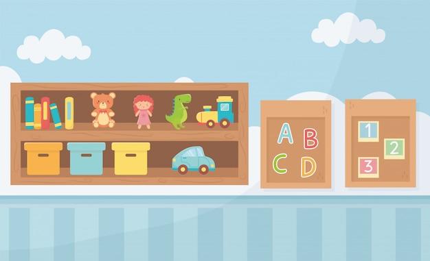 Schede con caselle di numeri alfabetici e giocattoli da camera shefl