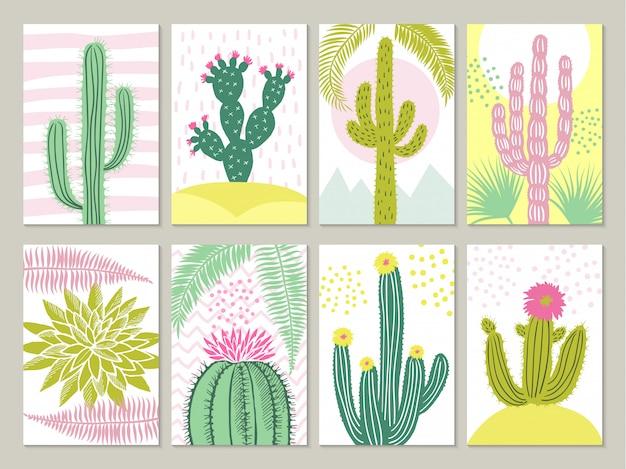 Schede con immagini di cactus