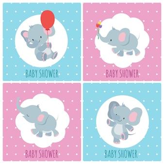 Schede dell'invito dell'acquazzone di bambino con gli elefanti svegli del fumetto messi