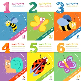 Schede dell'invito di compleanno dei bambini con il vettore sveglio degli insetti degli insetti