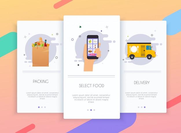 Schede di onboarding kit interfaccia utente per modelli di app mobili concetto di consegna cibo.
