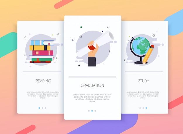 Schede di onboarding kit interfaccia utente per modelli di app mobili concetto di educazione