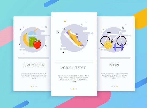 Schede di onboarding kit interfaccia utente per modelli di app mobili concetto di stile di vita sano.