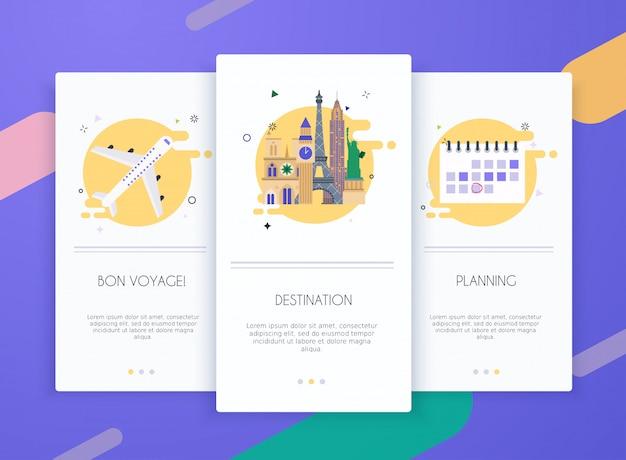 Schede di onboarding kit interfaccia utente per modelli di app mobili concetto di viaggio.