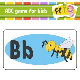 Schede flash abc. alfabeto per bambini. lettere d'apprendimento.