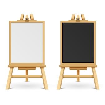 Schede in bianco in bianco e nero della scuola sull'illustrazione di vettore del cavalletto. cornice in legno e lavagna su treppiede