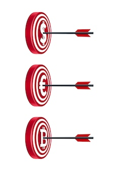 Schede target con valute e frecce
