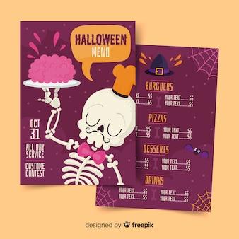 Scheletro cameriere con cervelli su un piatto di menu di halloween