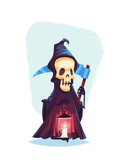 Scheletro del personaggio della morte con una falce illustrazione di halloween del fumetto