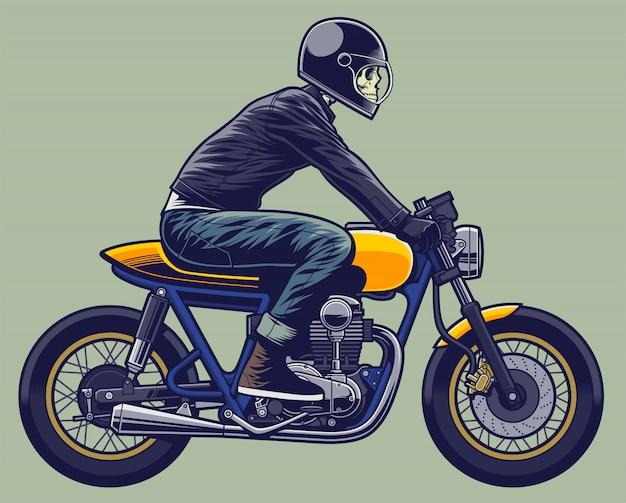 Scheletro di illustrazione del cavaliere del cranio sul motociclo