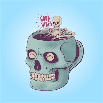 Scheletro facendo un bagno sulla tazza di caffè cranio. buone vibrazioni