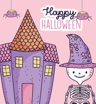 Scheletro felice di celebrazione di halloween con il cappello e il castello