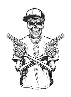 Scheletro gangster con pistole