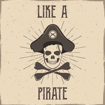 Scheletro pirata vintage con ossa e testo