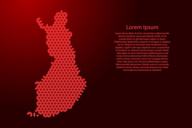 Schema astratto della mappa della finlandia dai triangoli rossi che ripetono il fondo geometrico del modello con i nodi per l'insegna, manifesto, cartolina d'auguri.