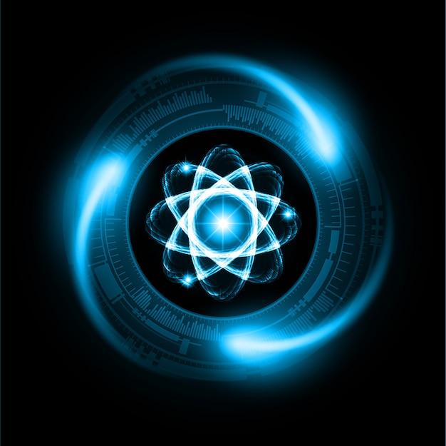 Schema atomico blu brillante