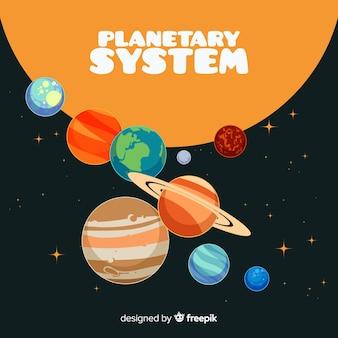 Schema classico del sistema solare con deisgn piatto