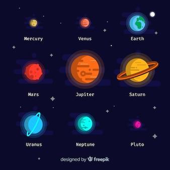 Schema colorato sistema solare con design piatto